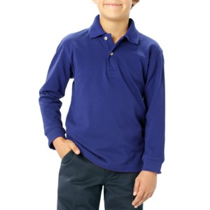 Blue Generation BG5207 Youth Pocketless Long Sleeve Pique Polo Shirt